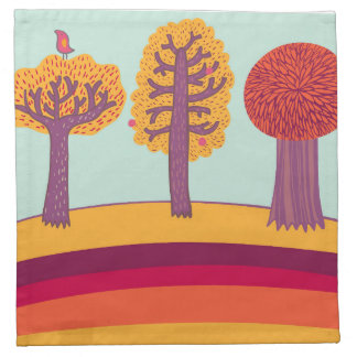Autumn Trees And Bird Napkin