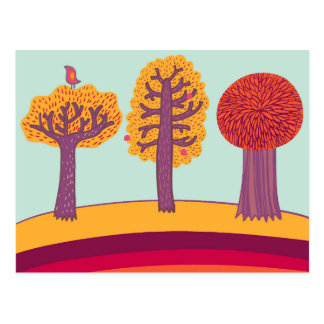 Autumn Trees And Bird Postcard