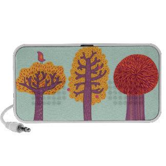 Autumn Trees And Bird Laptop Speakers