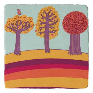 Autumn Trees And Bird Trivet
