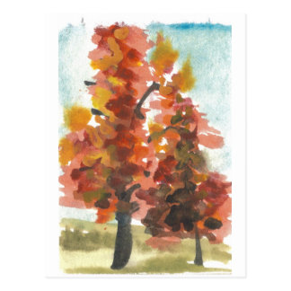 Autumn Trees Art Postcard