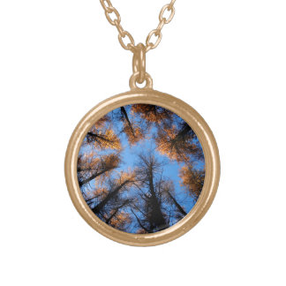 Autumn trees at  sunset gold plated necklace