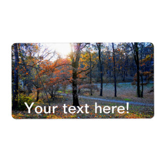 Autumn trees shipping label