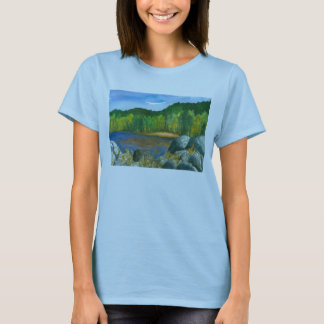 Autumn Trees Mountain Lake Watercolor Painting T-Shirt