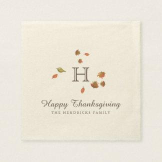 Autumn Trees Thanksgiving Monogram Paper Serviettes