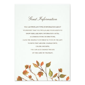 Autumn Trees Wedding Insert Card