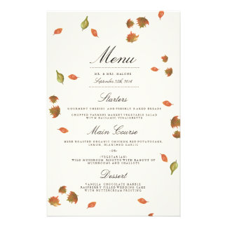 Autumn Trees Wedding Menu