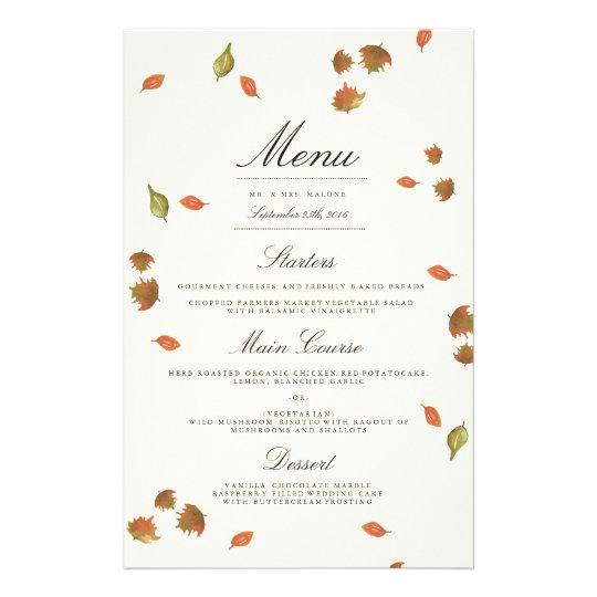 Autumn Trees Wedding Menu