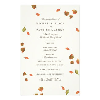Autumn Trees Wedding Program 14 Cm X 21.5 Cm Flyer