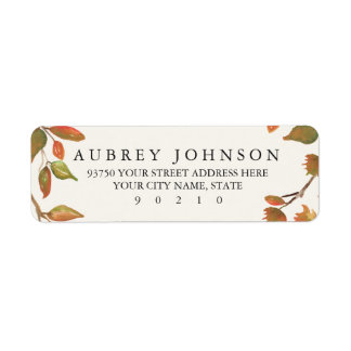 Autumn Trees Wedding Return Address Label