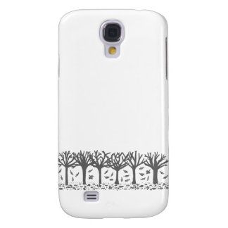 Autumn Trees with Falling Leaves Silhouette Galaxy S4 Case