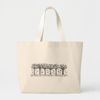 Autumn Trees with Falling Leaves Silhouette Jumbo Tote Bag