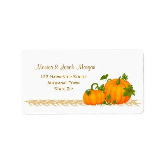Autumn two pumpkins Label Address Label