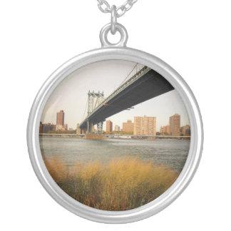 Autumn Under the Manhattan Bridge Round Pendant Necklace