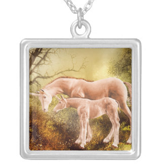 Autumn unicorns silver plated necklace