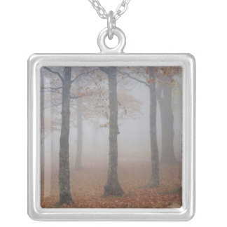 Autumn view of foggy forest, Grandfather Custom Necklace