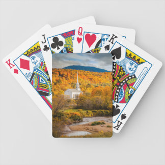 Autumn View Of The Community Church In Stowe Bicycle Playing Cards
