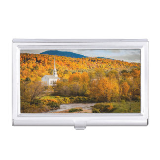 Autumn View Of The Community Church In Stowe Business Card Holder