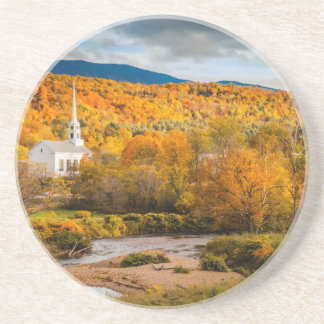 Autumn View Of The Community Church In Stowe Coaster