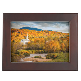Autumn View Of The Community Church In Stowe Keepsake Boxes