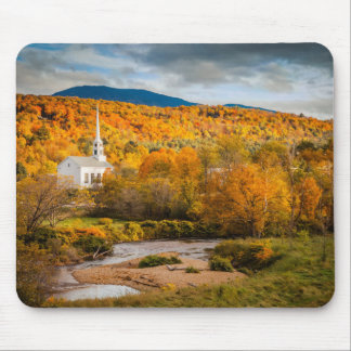 Autumn View Of The Community Church In Stowe Mouse Pad