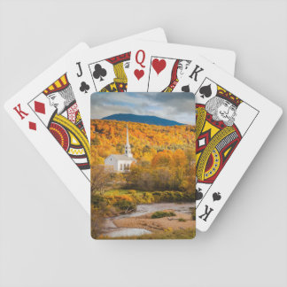 Autumn View Of The Community Church In Stowe Playing Cards