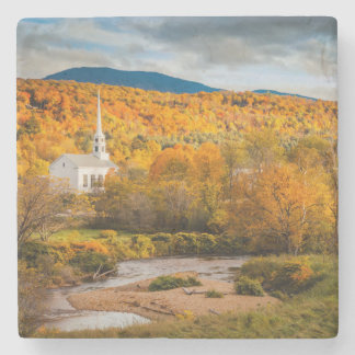 Autumn View Of The Community Church In Stowe Stone Coaster