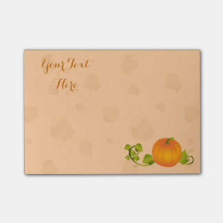 Autumn Vine Pumpkin with Customizable Text Post-it Notes
