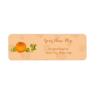 Autumn Vine Pumpkin with Customizable Text Return Address Label