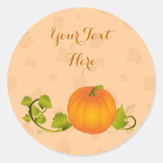 Autumn Vine Pumpkin with Customizable Text Round Sticker