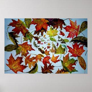 Autumn Vortex - Maple Leaves Poster