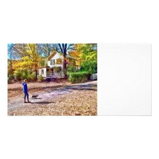 Autumn - Walking the Dog Photo Card