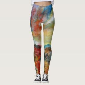 Autumn Watercolor Art Leggings