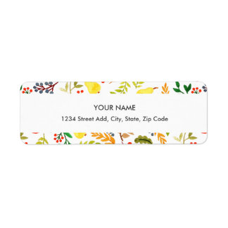 Autumn Watercolor Floral Return Address Label