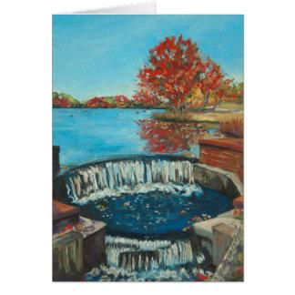 Autumn Waterfall, Brookwood Hall Greeting Card