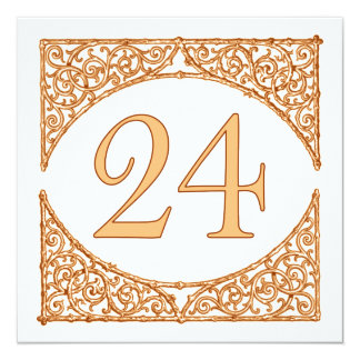 Autumn Wedding Country Wood Screen Table Number 24 13 Cm X 13 Cm Square Invitation Card