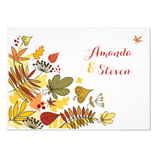 Autumn Wedding Invitation | Leaves, Seeds, Berries