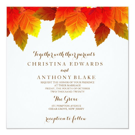 Autumn Wedding Invitation With Fall Leaves