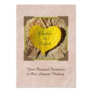 Autumn Wedding Invitation Yellow Heart Shaped Leaf