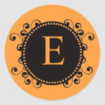 Autumn Wedding Orange Black Monogram E Sticker