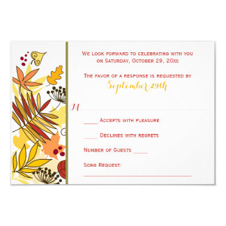 Autumn Wedding RSVP Card | Leaves, Seeds, Berries 9 Cm X 13 Cm Invitation Card