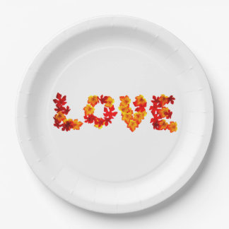 Autumn Wedding Rustic Leaves Spell Love Fall 9 Inch Paper Plate