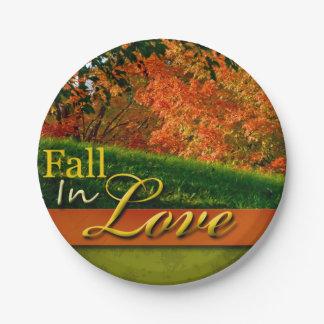 Autumn Wedding Scenic Fall In Love Foliage Photo 7 Inch Paper Plate