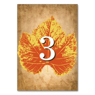 Autumn Wedding Table Numbers | Rustic Fall Theme
