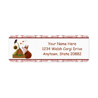 Autumn Welsh Corgi with Pumpkin Return Address Label