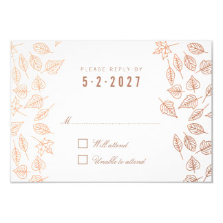 Autumn Whimsical Leaves Copper Wedding RSVP Card