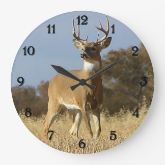 Autumn Whitetail Buck Large Clock