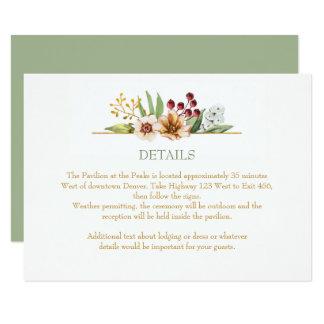 Autumn Wildflowers Watercolor Wedding Sage Card