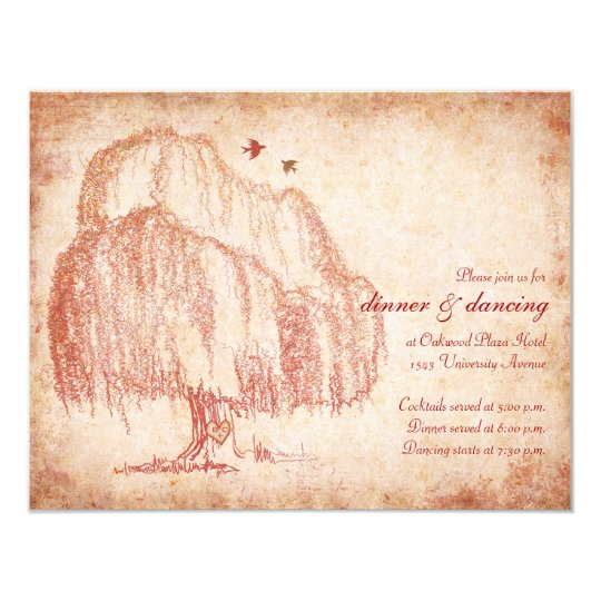 Autumn Willow Tree Wedding Reception Card
