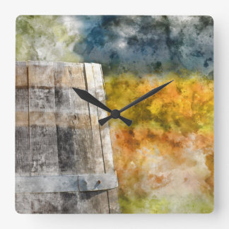Autumn Wine Barrel in a Vineyard Wall Clocks